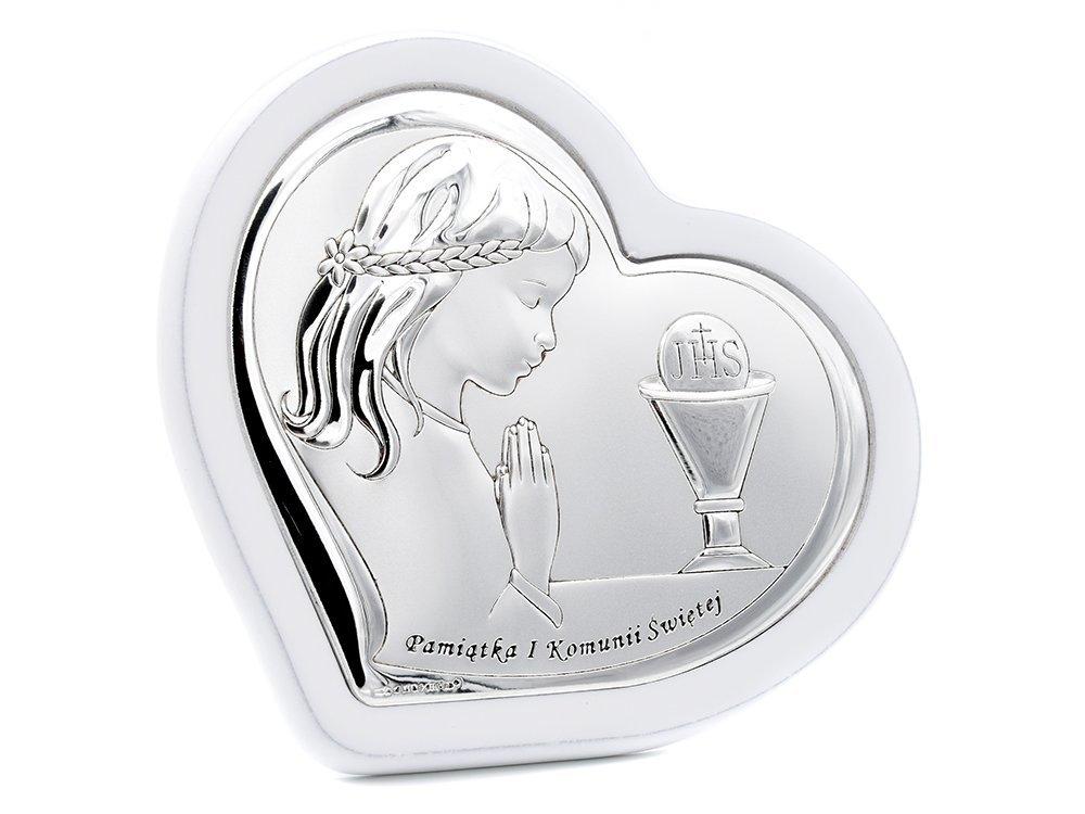 aee3c0fdf0 ... Obrazek srebrny na białym derwnie dziewczynka Grawer pamiątka na I  Komunia Św. ...