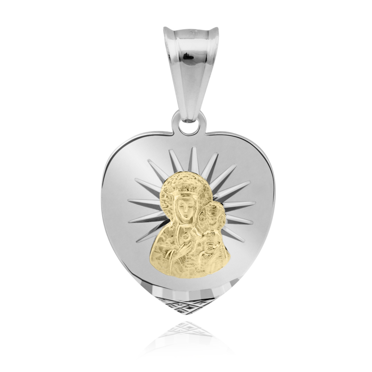 3ebc11c42c3de3 Srebrny medalik serce Matka Boska Częstochowska pr. 925 | Pamiątki ...